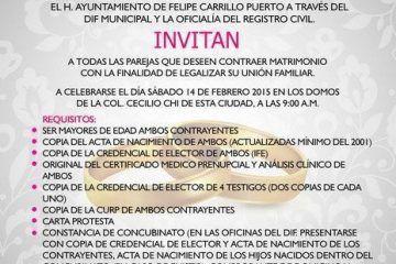 """Gobierno del """"Pato"""" Carballo refuerza campaña para bodas colectivas de """"San Valentín"""""""