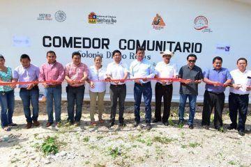 Inaugura José Alfredo Contreras comedores comunitarios en Bacalar