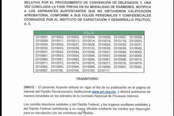 Publica el PRI resultados de los exámenes