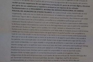 Denuncian corrupción, favores sexuales y privilegios en la Policía Municipal de Othón P. Blanco