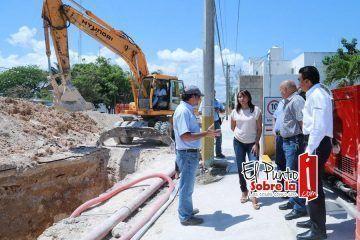 Supervisa CAPA obras de sustitución de colector de aguas residuales