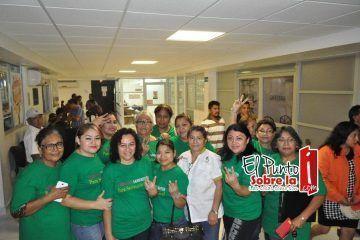 Sindicalizados de la sección 45 del SNTS reciben a la planilla verde (FOTOS)