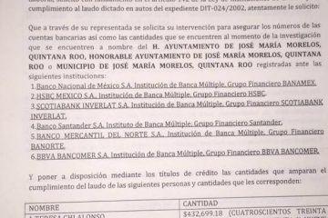 Embargan las cuentas del Municipio José María Morelos