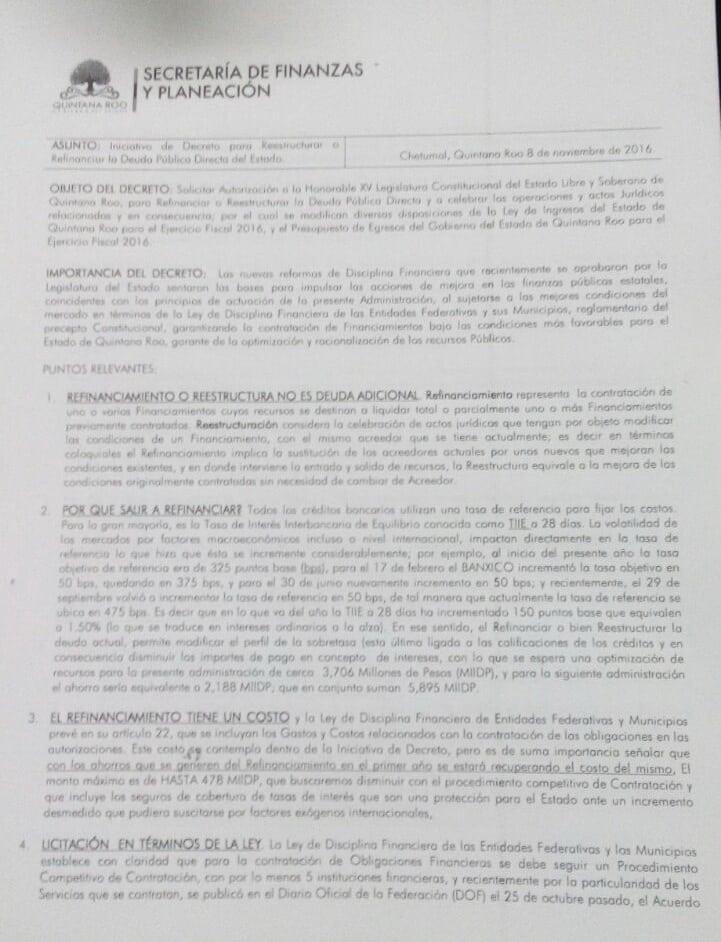 Iniciativa de Decreto para Reestructurar o Refinanciar la Deuda Pública Directa de Quintana Roo