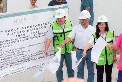 Laura Fernández pone en marcha la construcción y mejoramiento de pozos de absorción en Puerto Morelos y Leona Vicario