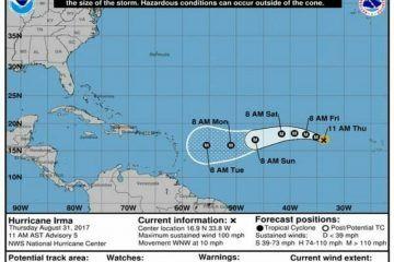"""La Tormenta """"Irma"""" se intensifica a Huracán categoría 2 sobre el Atlántico"""