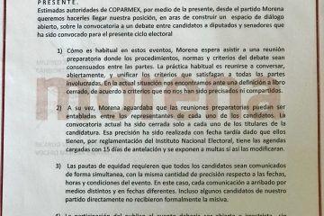 Morenistas rechazan debate de la Coparmex