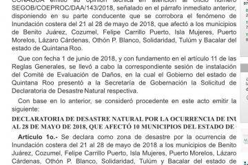10 municipios de Q. Roo accederán al FONDEN; Segob emite declaratoria de Desastre Natural