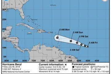 """Se forma el huracán """"Beryl"""" en el Atlántico, se ubica lejos de Quintana Roo"""