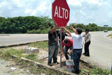 Dan solución a problema de accidentes en el entronque Cancún-Tesoco