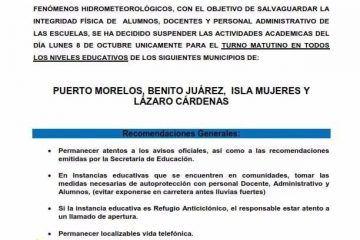Suspenden clases en cuatro municipios