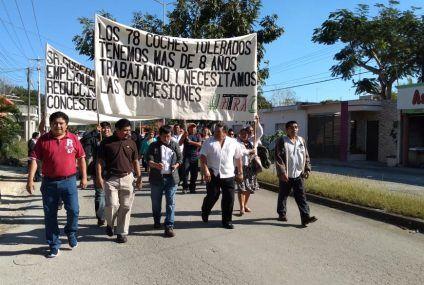 Marcha pacífica de choferes de la UNTRAC de Felipe Carrillo Puerto