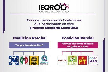 """IEQROO aprobó las coaliciones parciales """"Va por quintana roo"""" y """"Juntos haremos historia en quintana roo"""""""